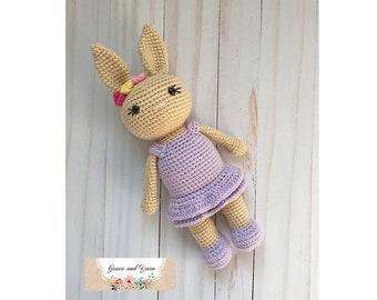 Amigurumi Bunny Crochet Pattern - PDF Instant Printable Download - Girl Version