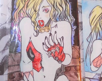 Harley Quinns temptations watercolour by boo rudetoons cartoonist comic illustration JusticeLeague batman ink drawing
