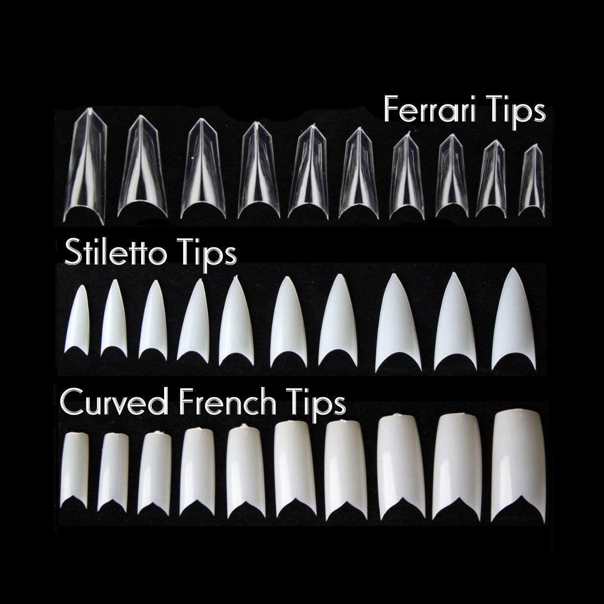 100pc False Nail tips French Tip Ferrari sword tip Pointy Stiletto ...