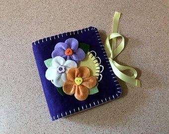 Wool Felt Needle Book in Purple & Buttercup