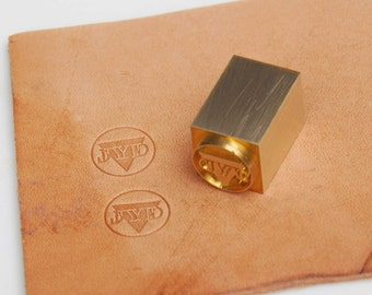 Leather stamp leather logo metal stamp Hammer with veg-tan leather  hammer stamp 25mm thick