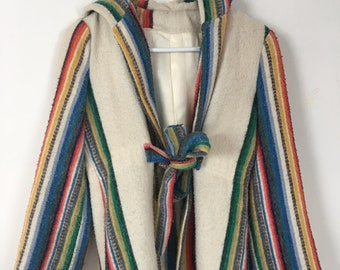 Adorable 60/70's hooded wool coat -small