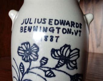 Vintage Julius Edwards Bennington, VT 1887 Crock