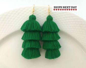 Emerald Green Earrings, St Patricks Day, Shamrock Green Tassel Earrings, Long Drop Earrings, Irish Gifts, Irish Jewelry, Party Earrings