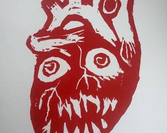 Heart, Out You Eat! - Linoleum Print