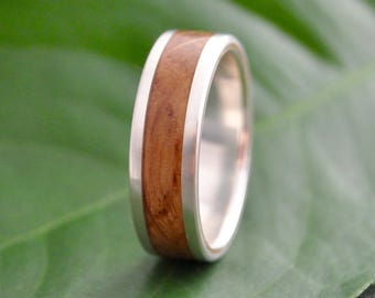 White Gold Lados Kentucky Bourbon Barrel Wood Ring - 14k recycled white gold and bourbon wedding ring, mens wood ring