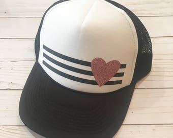 Kids Pink Heart Trucker Hat