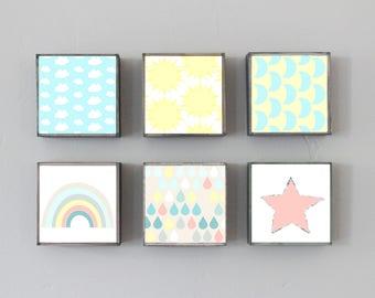 boho nursery art, choose 6 art block prints, sun moon stars meteorology, nursery decor, children wall decor, geometric prints, nursery