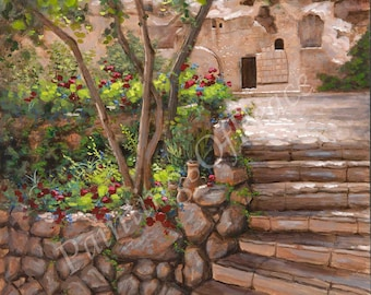 Garden Tomb - Jesus - Christ - Religious - Painting - Print - 11 x 14 FREE SHIPPING this WEEK