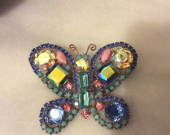 Vintage Czech crystal butterfly brooch