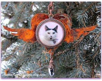 Cat Memorial Photo Ornament, Cat Photo Sympathy, Rustic Custom Cat Ornament, Rusty Cat Ornament, Cat Mom Photo Gift, Cat Sympathy, Cat Lover