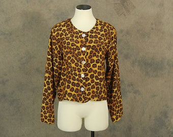 vintage 90s Leopard Print Blouse - 1990s Club Kid Cheetah Animal Print Shirt M