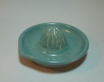 Citrus Juicer Aqua Green Hand-Carved with pour Spout - Wheel Thrown