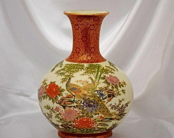 Memorial Day Sale Vintage 1970s Imari Shibata Porcelain Vase With Peacocks & Flowers - 10 Inches Tall - Made in Japan