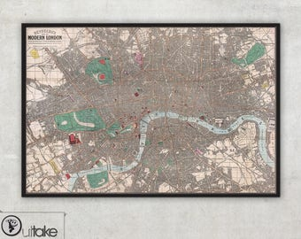 Antique Reynolds map of Modern London on canvas. Framed and ready to hang, 053