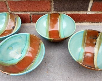 """Pottery Cereal Bowl, Pottery Soup Bowl, Brown Stripe Green Turquoise Teal 6.5"""" x 3.5"""""""