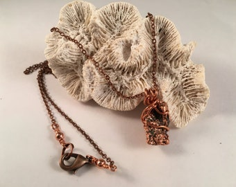 Copper Nugget Pendant Wrapped in Copper Wire on Antique Copper Chain One of a Kind  Previously 22 Dollars ON SALE