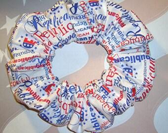 Patriotic Hair Scrunchie,  Republican White Ponytail Holder, Hair Tie, Republican National Convention Wear