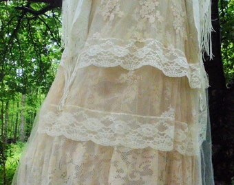 Beige tulle dress tea stained  lace  wedding  prom romantic boho outdoor bride small  by vintage opulence on Etsy