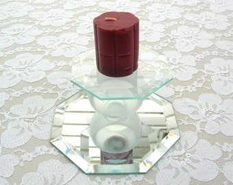Unusual Glass Candle/Treasure Stand & Cherry Candle, for candles, figurines, crystals, other treasures, like new