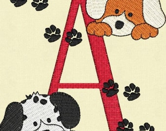 Puppy Dogs Monogram Fonts Machine Embroidery Designs Set Instant Download Sale
