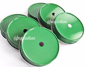Mason Jars Straws Lids, Green Color Daisy Lids--(6) Wedding Daisy Lids, Daisy Cut Green Mason Jar Lids, Mason Jar Lids