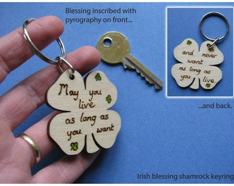 Irish Blessing Keyring. Wooden keyfob with traditional Irish blessing. Pyrography on wood. Indiviudually handmade.