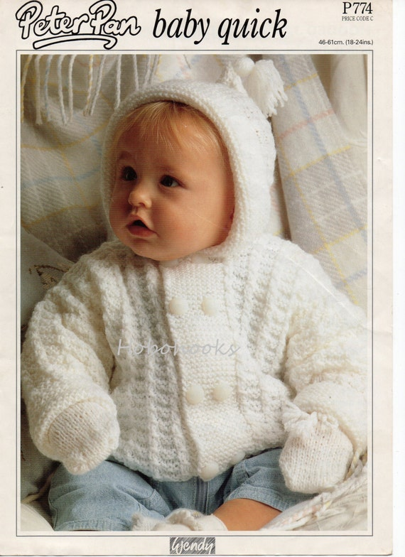 Baby knitting pattern pdf baby hooded jacket baby cardigan mitts baby knitting pattern pdf baby hooded jacket baby cardigan mitts baby set baby coat 18 to 24 inch chest dk pdf instant download from hobohooks on etsy dt1010fo