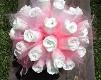 Diaper bouquet pink or blue glamorous boy or girl baby shower gift or centerpiece