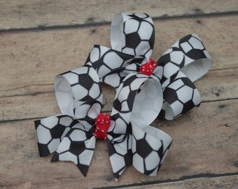 Soccer Hair Bows Pigtail Set of 2 Hairbows Soccer Pigtail Bow Soccer Hair Bow