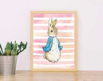 Peter Rabbit Wall Decor, Peter Rabbit Print, Beatrix Potter, Wall Art, Nursery Decor, Peter Rabbit Wall Art, Baby Girl, Peter Rabbit Nursery