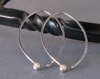 Long Hammered Hoop Earrings, Sterling Silver Elfin Ball Drops - Artisan Jewelry