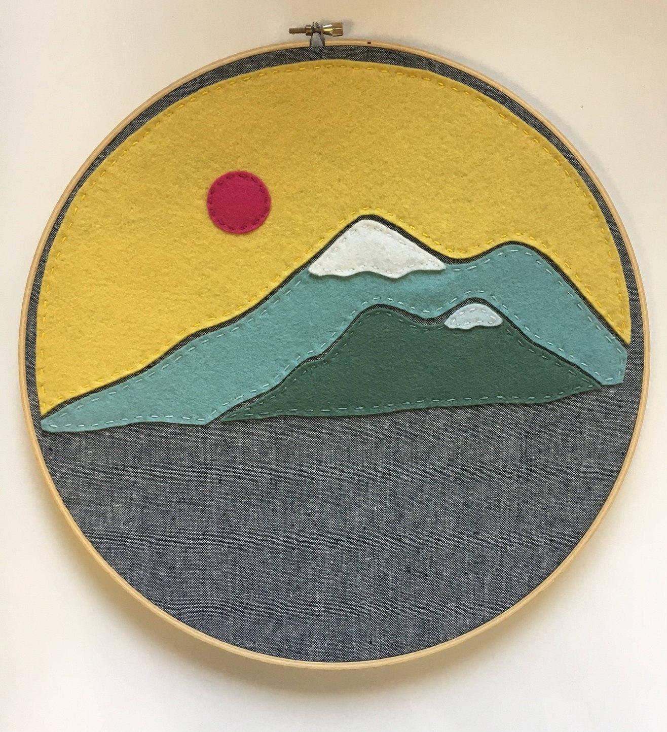 Embroidery Hoop Art Wall Art Felt Mountains Mountain