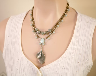 Ocean Blue Amazonite,Snakeskin Jasper,Chocolate Seed Bead and Antiqued Silver Double Leaf Multi Strand Boho Style Necklace