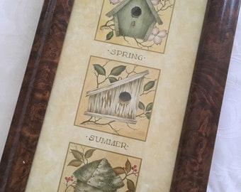Vintage Print of Birdhouses Indicating the Four Seasons, Professionally Framed