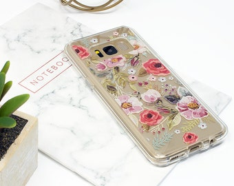 Galaxy S9 Case, Galaxy S8 Case, Galaxy S9 Plus, Floral, Flower, Galaxy S7 Case, Galaxy S8 Plus, Clear Case, Shockproof, Rubber Case, Samsung