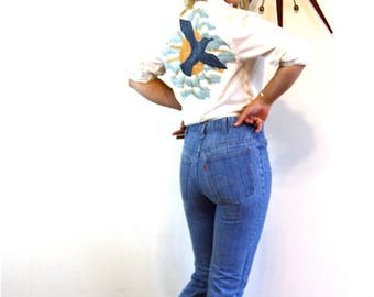 Orange Tab Levis, Vintage 70s Levis, Patched Bell Bottoms, Faded Blue Jeans, High Waisted Jeans, Womens Levi jeans, 1970s distressed Denim,