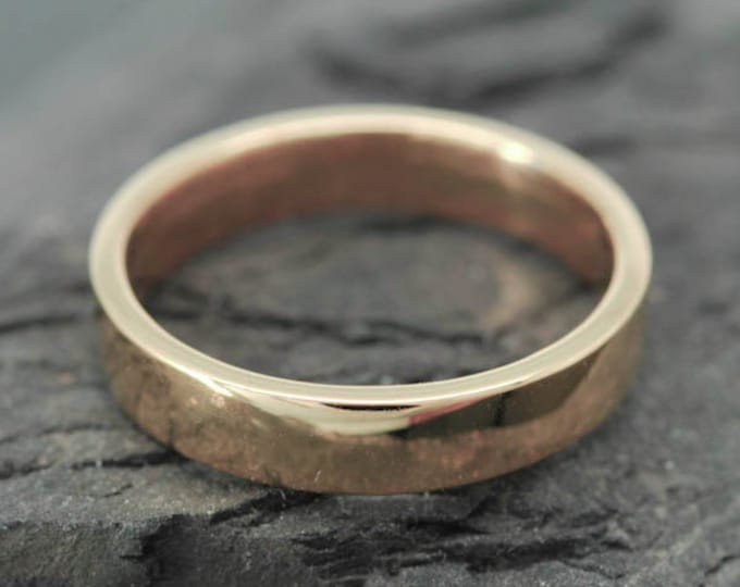 14K Rose Gold Ring, 4mm x 1mm, Wedding Band, Wedding Ring, Rose Gold Band, Flat Band, Square Band, Size up to 12