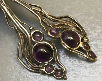 Vintage Brutalist Style Dangle Earrings .   Silver . Amethyst . Modernist  Jewelry