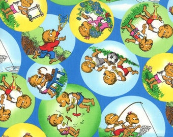 OOP HTF 32 inches Welcome to Bear Country The Berenstain Bears Moda Fabric Blue 55502-13 Outdoor Fun Inside Multi Colored Bubbles on Blue