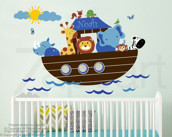 Children Wall Decal Noah S Ark With Personalized Name Wall