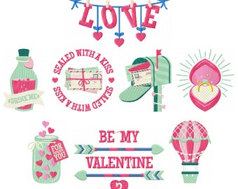 Valentine Collection of 8 Machine Embroidery Designs