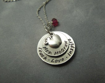 Personalized teacher necklace, hand stamped stainless steel
