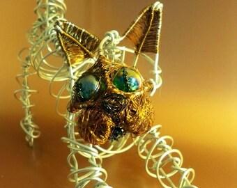 Aluminium Wire Kitten Sculpture