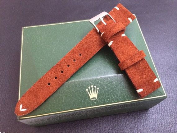 Suede brown color vintage Leather Strap, leather watch band for 18mm/19mm/20mm lug width, 16mm buckle - Father's Day gift, FREE SHIPPING