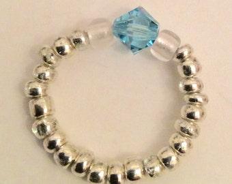 Swarovski and seed bead elastic ring