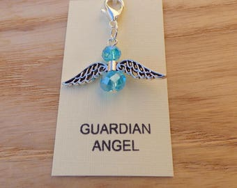 GUARDIAN ANGEL CHARM, crystal angel, turquoise angel bag charm, angel keyring charm, angel purse charm, angel zip pull, good luck charm.