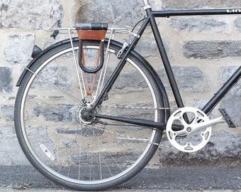 Bicycle U-Lock Holster - Tan Leather