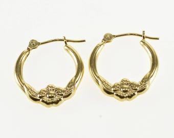 14k Floral Leaf Design Puffy Hollow Hoop Earrings Gold