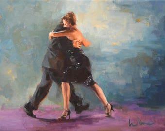 Tango In Blue, Framed Impressionist Original Fine Art Oil Painting of Tango Dancers Dancing Tango, Plus Free Shipping!